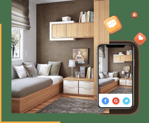 Compartir en las redes sociales tiendas de muebles