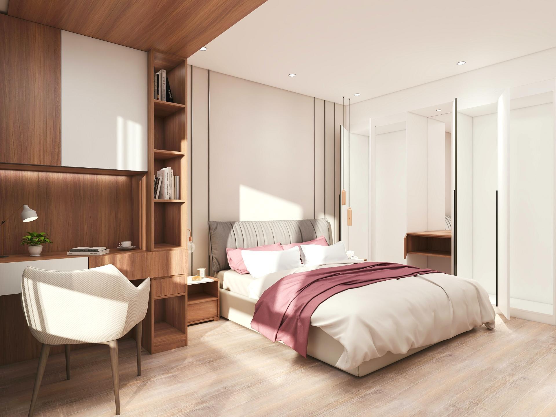 Dormitorio creado con Aihouse con las puertas abiertas