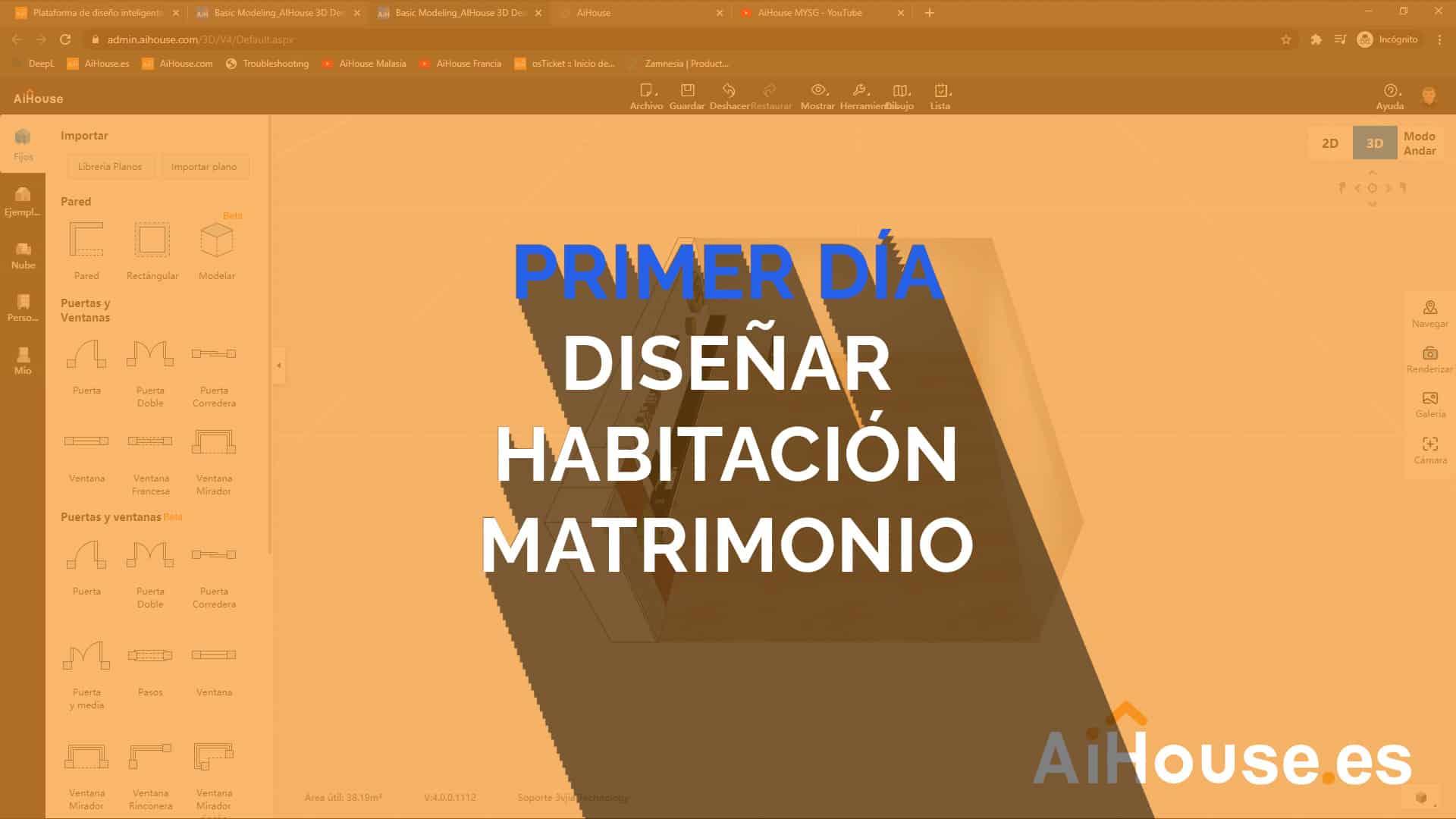 Formación AiHouse en Español - Día 1 - Creación de habitación de matrimonio con módulo de armarios
