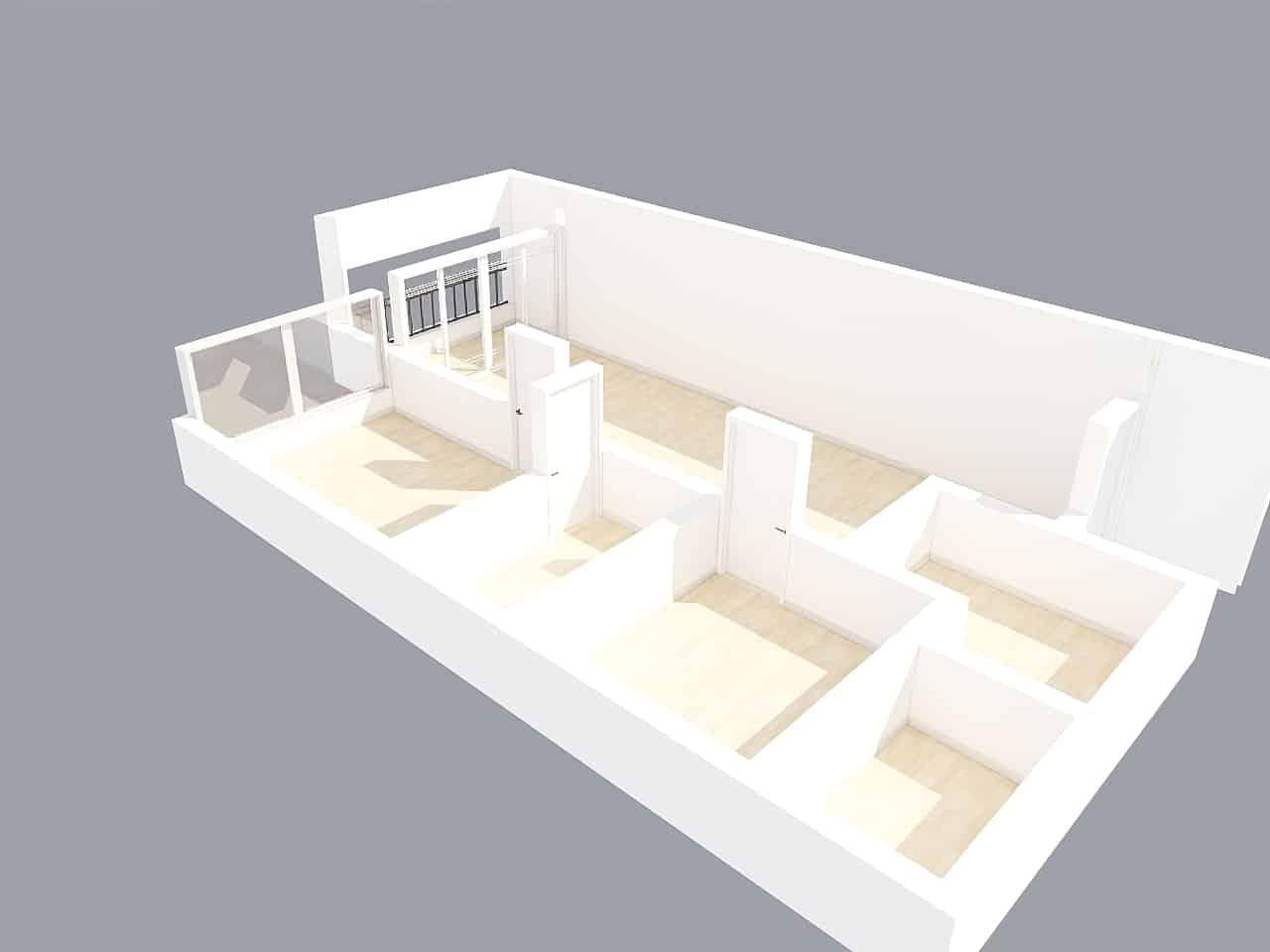 Vista aérea en 3D sin paredes sin amueblar