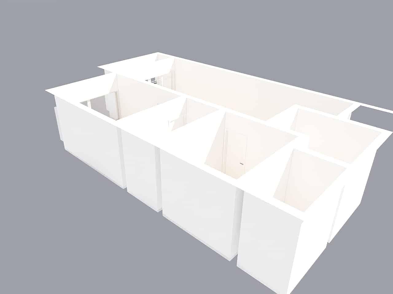 Vista aérea en 3D con paredes sin amueblar